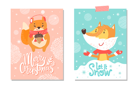 Illustration pour Let it snow and merry christmas, set of cards representing squirrel holding big acorn and fox catching snowflakes isolated on vector illustration - image libre de droit