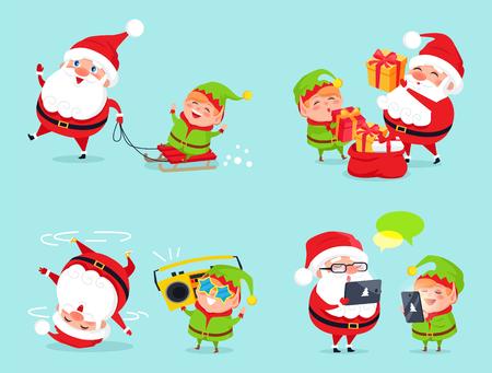 Santa Claus and Elf Adventures Illustration.