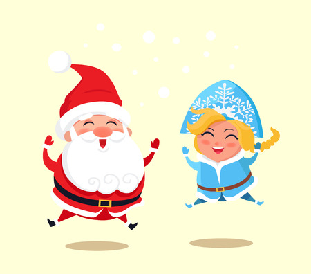 Illustration pour Snow Maiden and Santa Claus wearing costumes of traditional pattern, jumping because of happiness, vector illustration isolated on yellow background - image libre de droit