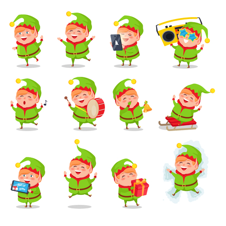 Illustration pour Elf collection of activities, character dressed in green costume playing games, helping and listening to music, having fun vector illustration - image libre de droit