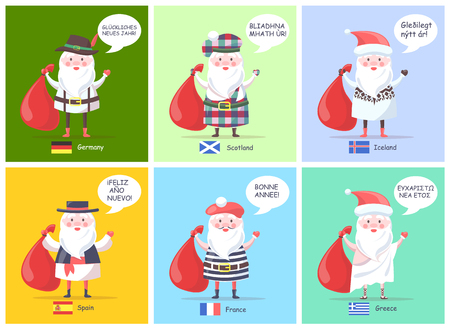 Illustration pour Germany Spain Santa Clauses Vector Illustration - image libre de droit
