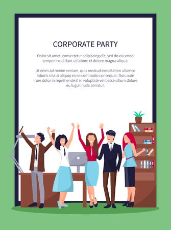 Ilustración de Corporate party poster with happy people celebrating success in office workplace including table, computer and drawers, flags vector in frame. - Imagen libre de derechos