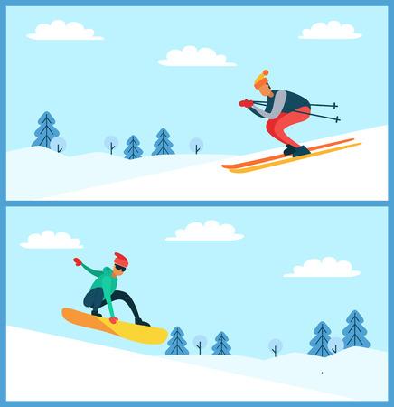 Illustration for Skier and Snowboarder Set, Vector Illustartion - Royalty Free Image