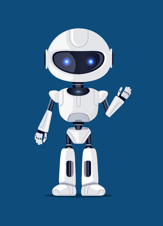 Photo for Robot waving and greeting someone, artificial creature, made up of metal and plastic, robotic object with shining blue eyes vector illustration - Royalty Free Image