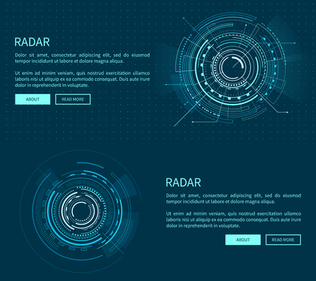 Ilustración de Radar layout with many figures vector illustration with two geometric patterns of sphere, text sample, push-buttons isolated on dark blue background - Imagen libre de derechos