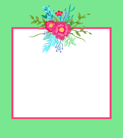 Ilustración de Poster with flowers and leaves and empty frame for putting your own text, floral pattern on top of border vector illustration isolated on green - Imagen libre de derechos
