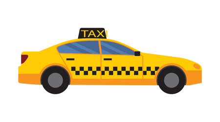 Illustration pour Taxi car of yellow color with squares and windows, vehicle with sign and distinctive characteristics and features, isolated on vector illustration - image libre de droit