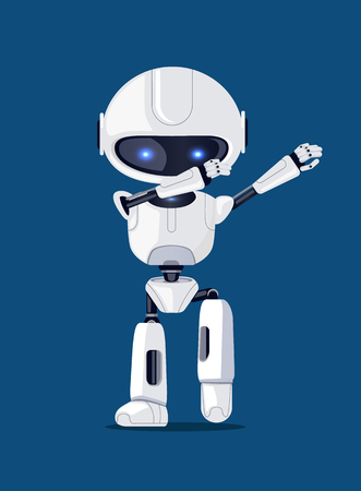 Photo for White funny dabbing robot, vector illusration of representative of artificial intelligence with glossy blue eyes isolated on deep blue background - Royalty Free Image