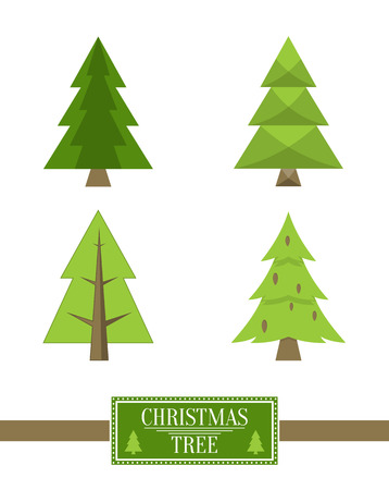 Illustration for Christmas Tree Sign Board Collection Spruce Icons - Royalty Free Image