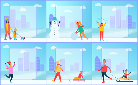 Illustration pour Winter posters collection, family walking dog, woman creating snowman, female happy because of snow, father and kid on sled vector illustration - image libre de droit