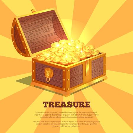 Illustration pour Treasure Bright Wooden Box Vector Illustration - image libre de droit