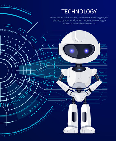 Illustration pour Technology Robot and Interface Vector Illustration - image libre de droit