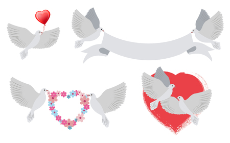 Illustration for Doves and hearts with banners, birds of love carrying heart shaped object of red color, ribbon and wreath of flowers, isolated on vector illustration - Royalty Free Image