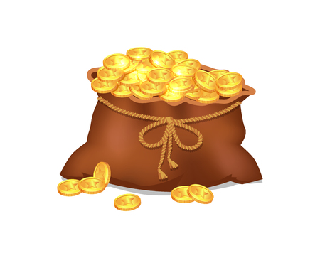 Ilustración de Treasure Coins in Brown Bag Vector Illustration - Imagen libre de derechos