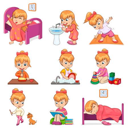 Illustration pour Little Girl Does Daily Routine Illustrations Set - image libre de droit