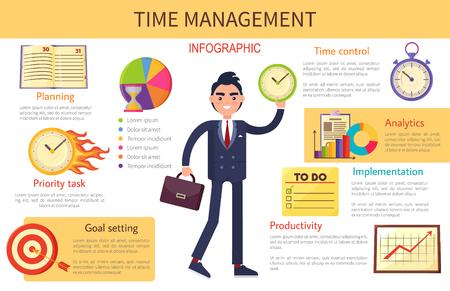 Illustration pour Time Management Planning Control Bright Banner - image libre de droit