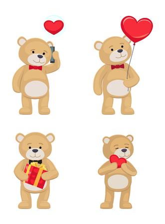 Ilustración de I love you and me teddy bears with heart sign vector illustration of stuffed toy animals, presents for Happy Valentines Day, cartoon posters - Imagen libre de derechos