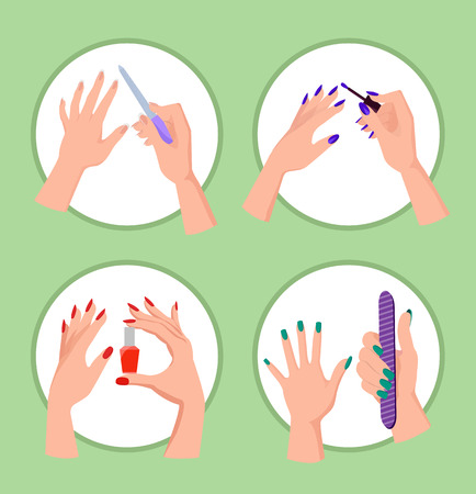 Ilustración de Nail Service Collection Banner Vector Illustration - Imagen libre de derechos