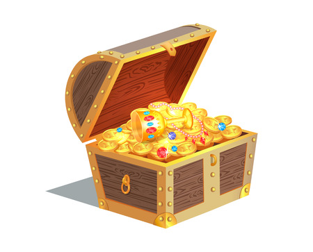 Ilustración de Beautiful Treasure Chest Vector Illustration - Imagen libre de derechos