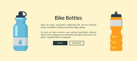 Illustrazione per Bike Bottles Set Web Page Vector Illustration - Immagini Royalty Free