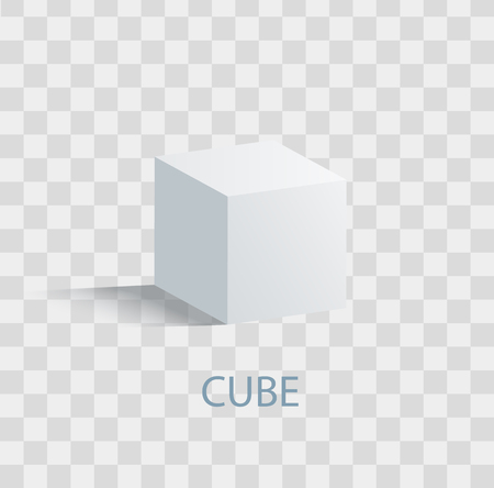 Illustration for Cube, isolated geometric figure of white color on transparent background. - Royalty Free Image