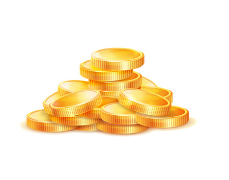 Illustration pour Pile of golden coins vector illustration isolated on white background. Gold money symbol of richness and wealth, earnings and profit, realistic icon - image libre de droit