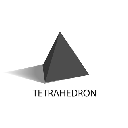 Illustration for Tetrahedron black geometric figure with sharp angles and even size sides in shape of regular triangles that casts shade isolated vector illustration. - Royalty Free Image