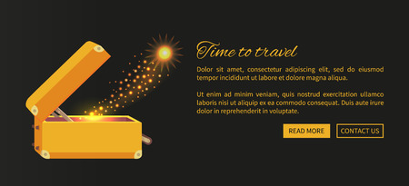 Illustration pour Time to travel web poster with open suitcase and magical mirror from it vector illustration on black background. Luggage with golden sparkle - image libre de droit