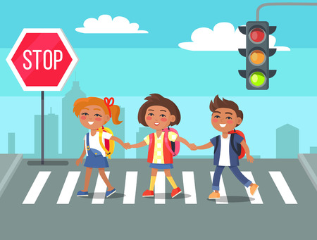 Illustration pour Kids Crossing Road in City Cartoon Illustration - image libre de droit