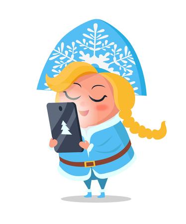 Ilustración de Snow Maiden Taking Order on Digital Tablet Vector - Imagen libre de derechos