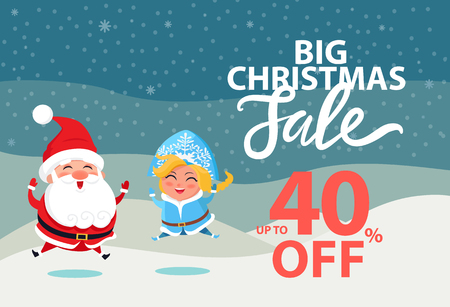 Illustration for Big Christmas sale up to 40 off wintertime poster with Santa Claus and Snow Maiden. Vector illustration with xmas discount clearance and winter symbols - Royalty Free Image