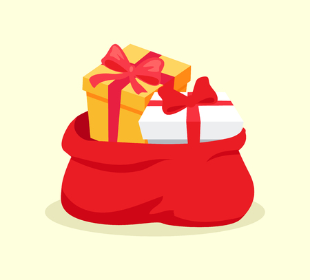 Illustration pour Open red bag full of Christmas presents vector solated on white background. Cartoon Santa s sack with gift boxes for congratulation at holidays - image libre de droit