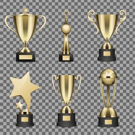 Illustration pour Concept of Six Golden Trophy Cups for Champion - image libre de droit