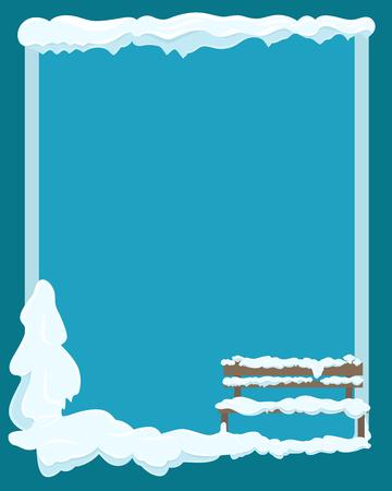Illustration pour Bench under Snow Greeting Card with Empty Space - image libre de droit