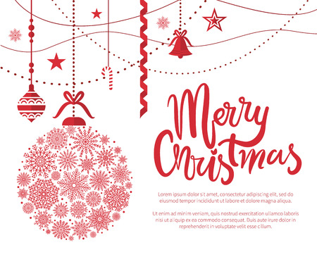 Illustration for Merry Christmas, poster with text and calligraphy lettering with decoration of snowflakes, balls and bells, stars and garlands vector illustration - Royalty Free Image