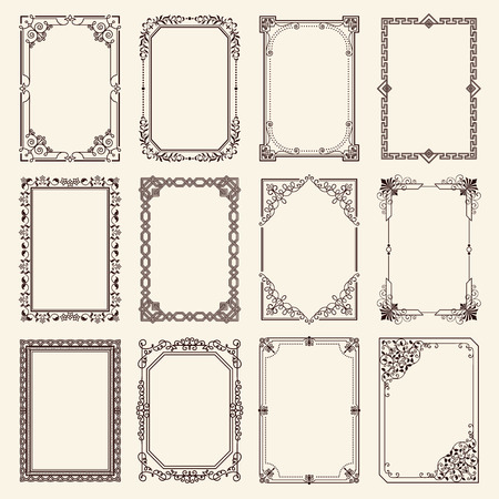Illustration pour Vintage swirly black and white elegant frames set. - image libre de droit
