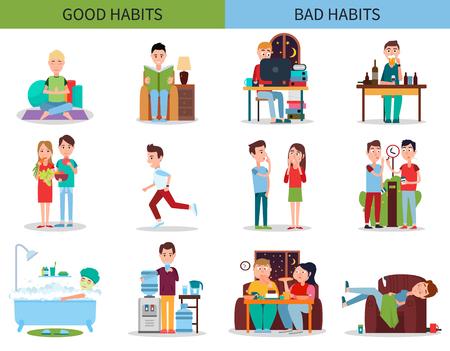 Photo pour Good and Bad Habits Collection Vector Illustration - image libre de droit