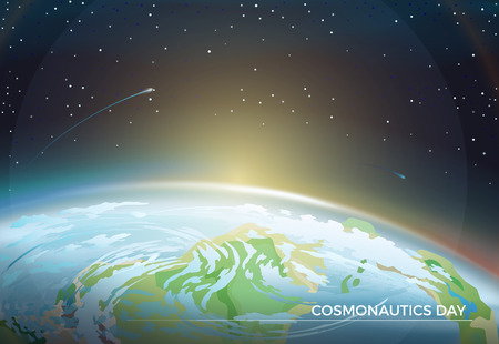 Illustration pour Cosmonautics Day themed poster with Earth part and bright Sun on horizon among bright stars in dark endless sky cartoon flat vector illustration. - image libre de droit