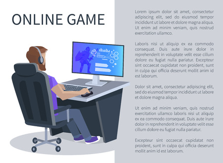 Illustration pour Online gaming poster with man playing cyber video games, player in virtual reality cyberspace sitting on chair at computer vector illustration. - image libre de droit