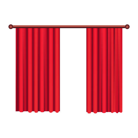 Illustration pour Classic Heavy Red Drapes on Cornice Vector - image libre de droit