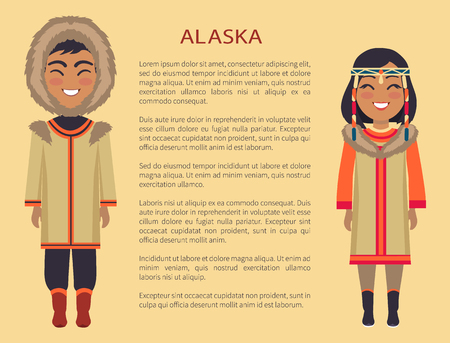 Illustrazione per Alaska People in Clothes on Vector Illustration - Immagini Royalty Free