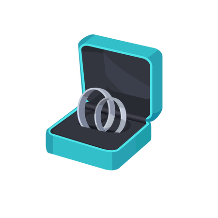 Illustration pour Two Platinum Engagement Rings in Box. - image libre de droit