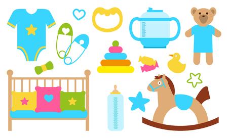 Illustration pour Objects and Items for Kids Poster Vector Illustration - image libre de droit