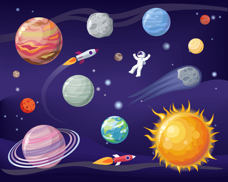 Illustration pour Space and planets set, poster with astronaut wearing special suit, Sun and Earth, stars and cosmos, vector illustration isolated on black and blue - image libre de droit