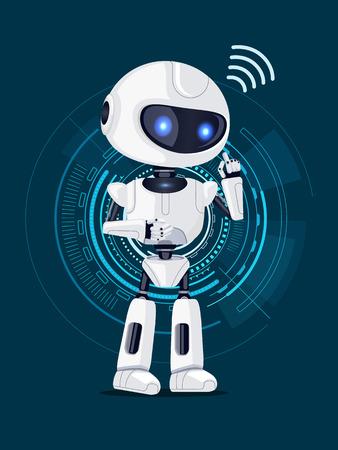 Illustration pour Robot and Interface Poster Vector Illustration - image libre de droit