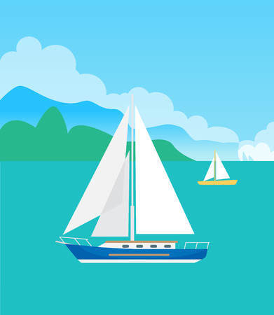 Ilustración de Two Pretty Sailsboats, Color Vector Illustration - Imagen libre de derechos