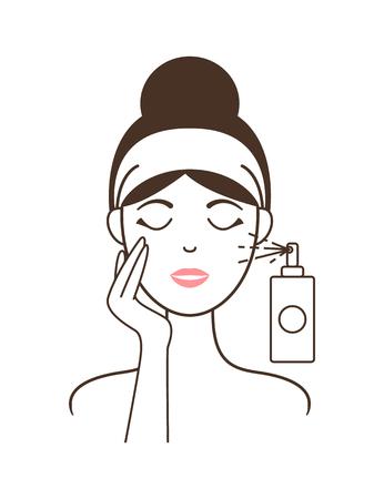 Illustration pour Girl in Headband Aplies Micellar Water from Spray - image libre de droit
