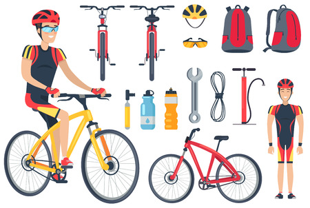 Illustration pour Cyclist and Bicycle Tools Set Vector Illustration - image libre de droit