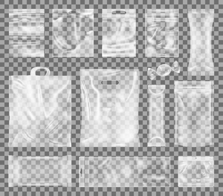 Ilustración de Plastic Packages Collection Vector Illustration - Imagen libre de derechos