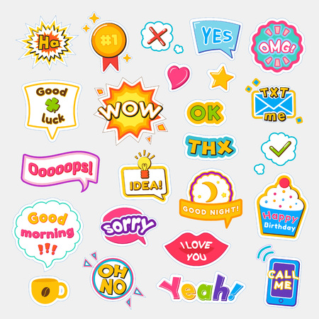 Illustration pour Bright Stickers with Short and Expressive Phrases - image libre de droit
